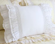 White Cotton Ruffle Cotton Eyelet Lace Pillow Sham Pillowcase Victorian Shabby Cottage French Parisian Wedding gift - Best of Wallpapers for Andriod and ios Eyelet Lace, Cotton Lace, White Cotton, Lace Ruffle, White Lace, Cotton Duvet, Floral Lace, Pink Lace, Lace Fabric