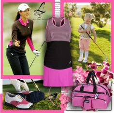 Want a girly and pink outfit to rock the course, here it is exclusive at lorisgolfshoppe.polyvore.com #golf #fashion #ootd #lorisgolfshoppe