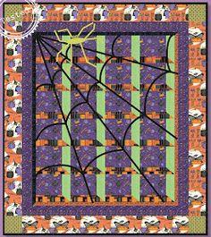 Quilt Inspiration: Free Pattern Day: Halloween Halloween Quilt Patterns, Halloween Quilts, Halloween Fabric, Halloween Spider, Halloween Wreaths, Halloween Sewing, Halloween Projects, Fall Projects, Quilt Block Patterns