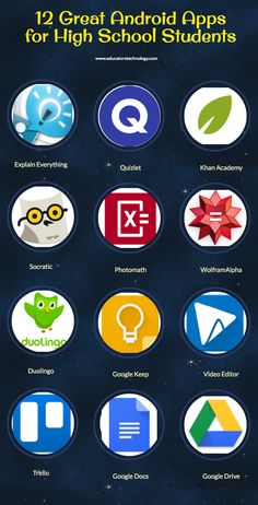 12 Great Android Apps for High School Students - formation pedagogique - Technologie High School Apps, Life Hacks For School, School Study Tips, High School Students, Best Apps For School, School Tips, School Lessons, Learning Websites, Educational Websites