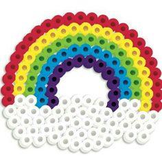 Strijkkralen rond - regenboog