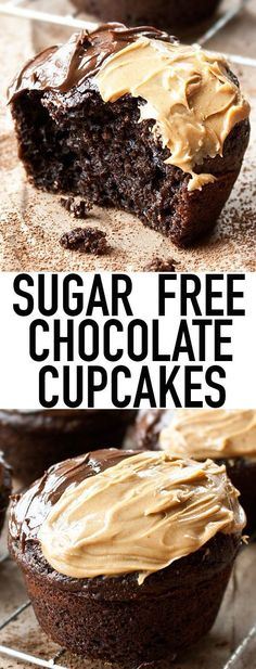 These easy SUGAR FREE CHOCOLATE CUPCAKES from scratch are made with no sugar. They are still incredibly soft and moist! This easy cupcake recipe uses Splenda and it's perfect for diabetics! From cakew(Fitness Recipes Dessert) Sugar Free Cupcakes, Sugar Free Deserts, Sugar Free Treats, Sugar Free Muffins, Mini Desserts, Low Carb Desserts, Healthy Desserts, No Sugar Desserts, Desserts With Splenda