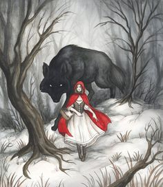 This picture is classic image of Little Red Riding Hood and the Big Bad Wolf. I chose this picture because it represent typical imagery in fairy tales. The young, innocent looking girl going up against a bigger, badder, scarier creature. Art Prints, Drawings, Fantasy Art, Bad Wolf, Illustration Art, Art, Wolf Art, Red Riding Hood Art, Fairytale Art