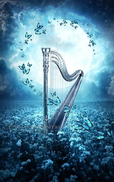 Whimsical fantasy harp with butterflies art print, blue wall poster, full moon Butterfly Wallpaper, Butterfly Art, Galaxy Wallpaper, Wallpaper Backgrounds, Music Artwork, Art Music, Anime Scenery, Cute Wallpapers, Fantasy Art