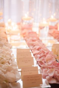 Rose Petals with Placecards Read More: http://www.stylemepretty.com/tri-state-weddings/2014/03/10/elegant-pink-white-wedding-at-the-carltun/