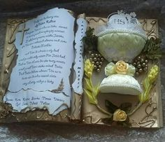 Communion, Book Art, Things To Do, Balloons, Christmas Ornaments, Decoration, Party, Diy, Crafts