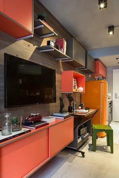 Did you know that in the city of São Paulo already there are apartments of 20 m²? 20 M2, Ornaments Design, My Room, New Homes, Sweet Home, Kitchen Cabinets, House Design, Flooring, Interior Design