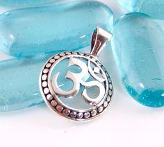 Silver Ohm Symbol, Hippie Pendant, Spiritual, Sterling Silver, Bohemian Style - #pp55