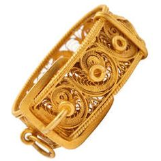 Early Victorian Gold Filigree Buckle and Strap Ring | From a unique collection of vintage band rings at https://www.1stdibs.com/jewelry/rings/band-rings/