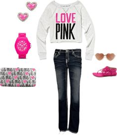 """""""Casual comfi in pink"""" by hollisgena on Polyvore"""
