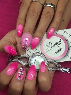Dark and light pink nails with diamonds. Summer holiday nails.
