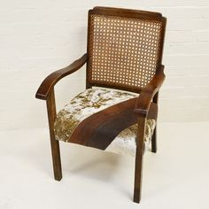 'Up-Cycled Antique Cane Back Armchair