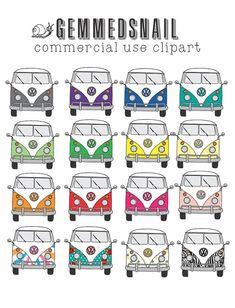 Kombi Van clip art volkswagen clipart hippy van by GemmedSnail