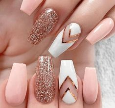 Baby Pink and Rose Gold Nails - Rose Gold Glitter Nails - Gorgeous Rose Gold Nails Perfect For Summer -Rose Gold Nail Polish, Rose Gold Chrome Nails, Rose Gold Glitter, Rose Gold Gel Nails Nail Designs Spring, Cute Nail Designs, Gold Nail Designs, Elegant Nail Designs, Designs For Nails, Pedicure Nail Designs, Different Nail Designs, Rose Gold Nail Design, Nail Designs For Winter