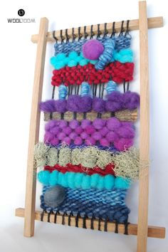 Blue red purple - Hand woven wall hanging // weaving // telar decorativo made… Crochet Wall Hangings, Weaving Wall Hanging, Weaving Art, Loom Weaving, Tapestry Weaving, Hand Weaving, Peg Loom, Easy Diy Gifts, Weaving Projects