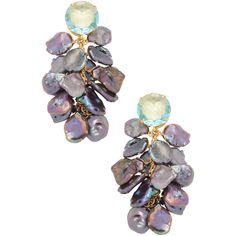 Bounkit Women's Quartz & Keshi Pearls Interchangeable Drop Earrings ($299) ❤ liked on Polyvore featuring jewelry, earrings, multi, quartz earrings, grey pearl earrings, 14 karat gold earrings, white pearl drop earrings and gray earrings