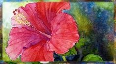 How To Paint the Red Hibiscus Flower In Watercolor By Ross Barbera, via YouTube.