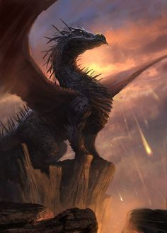 Dragon, on a cliff | fantasy creatures art, #dragons
