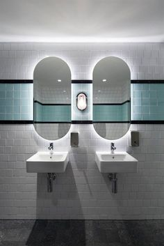 Bunker Bulkhead lights at the Prahran Hotel Lavabo Design, Wc Design, Bath Design, Toilet Design, Store Design, Modern Design, Design Ideas, Interior Design, Commercial Bathroom Ideas
