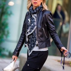 How to Wear Black Leather Over 40