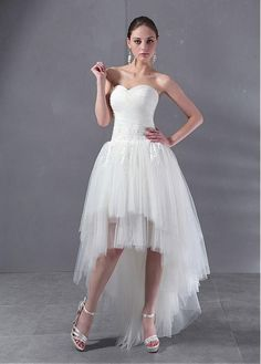Fabulous Satin & Tulle with Beaded Lace Appliques A-line Strapless Sweetheart Neckline Asymmetrical Length Wedding Dress