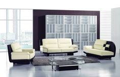 Modern Ivory Black Leather Sofa Chair Chaise Tufted Living Room Set