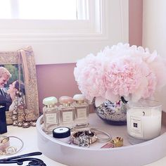 Fresh peonies on display in my closet. They always have a way of brightening my day... #