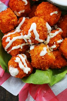 BAKED buffalo popcorn chicken! Only 30 minutes!