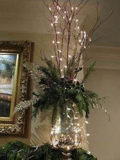 Mantel decoration branches with minimal greensMantle decoration=love the lookCreate a holiday ambiance and express your joy for this season throughout your house with these indoor Christmas decorations ideas, because every room can use [. Indoor Christmas Decorations, Christmas Arrangements, Christmas Mantels, Christmas Centerpieces, Rustic Christmas, Simple Christmas, Christmas Lights, Christmas Wreaths, Christmas Crafts