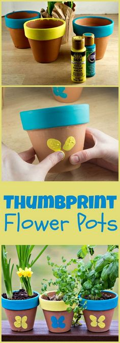 Decorative Thumbprint Flower Pots for Mother's Day is part of Easy crafts Spring - make cute thumbprint butterflies on terracotta flower pots for an easy spring craft Daycare Crafts, Preschool Crafts, Easter Crafts, Projects For Kids, Diy For Kids, Crafts For Kids, Craft Projects, Garden Projects, Craft Ideas