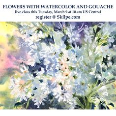 This coming Tuesday morning I'll be teaching how to paint flowers with watercolor and white gouache. This technique is much easier than watercolor alone. Join me on Skilpe learning platform it will be fun! . . . . . . . . . . . #tummyrubbstudio #negativepainting #skilpehq #instaart #instaartist #gouacheandwatercolor #paintingoftheday #flowersketch #howtopaintgouache #gouachepainting #watercolor #gouache #watercolorandgouache #watercolorpainting #youtubetutorial #lilacs #flowerlove #flowerdrawing Gouache Painting, Watercolor Paintings, Love Flowers, Paint Flowers, White Gouache, Flower Sketches, Figure Sketching, Art School, Insta Art