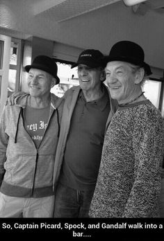 Patrick Stewart, Leonard Nimoy & Ian McKellen.... And it set on fire because it was too much awesome under one roof. R.I.P. Mr. Nemoy.