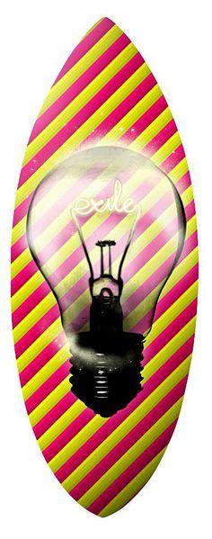 Exile Skimboard Graphics. Richard de Ruijter design. #richardderuijter #skimzone #exile #foamie #foamcore #skimboard #skimboarding #boardsports #watersports #ocean #waves #artist #design #lightbulb