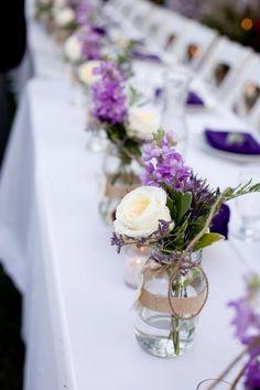 Purple rustic wedding centerpieces with mason jars and burlap, elegant rustic wedding ideas   Deer Pearl Flowers