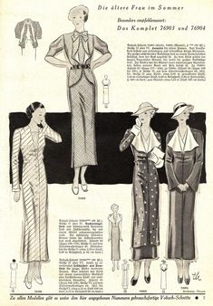 "Mode und Wäsche 1934/35 heft 12. Models 76903+76904: B38"" (96 cm). Model 76902: B34"" (88 cm). Model 76586: B45"" (114 cm). PDF sewing patterns for these models available upon request, please contact me for more information."
