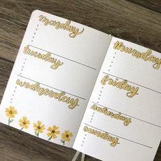 Sunflower Bullet Journal Weekly Spread to do when bored crafts jar crafts crafts Bullet Journal Tracker, Bullet Journal Weekly Spread, Bullet Journal Writing, Bullet Journal Notebook, Bullet Journal Aesthetic, Bullet Journal School, Bullet Journal Ideas Pages, Bullet Journal Inspo, Bullet Journal Layout