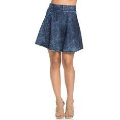 High Waisted Acid Wash Denim Skater Skirt ($13) ❤ liked on Polyvore featuring skirts, high waisted a line skirt, white knee length skirt, white flare skirt, circle skirt and white a line skirt
