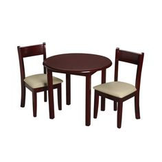 Lipper Round Table with Shelf & 2 Chairs - Pecan - Lipper ...