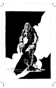 "michaelallanleonard: "" Creature From the Black Lagoon by Mike Mignola "" Marvel Comics, Horror Comics, Horror Art, Comic Book Artists, Comic Artist, Comic Books Art, Dark Horse Comics, Mike Mignola Art, Graphic Novel Art"