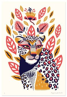 Margaux carpentier illustration of animals petit monkey poster wild animals 50 x 70 cm illustration art design wildlife tropical elephant tiger cheetah toucan Illustration Design Graphique, Illustration Inspiration, Art Et Illustration, Illustration Animals, Character Illustration, Kunst Inspo, Art Inspo, Silkscreen, Posca Art
