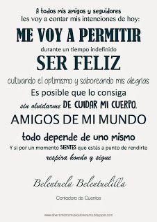 .: ME VOY A PERMITIR SER FELIZ: BELENTUELA, CONTADORA...