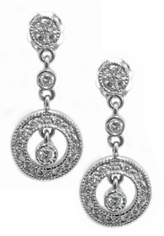 Diamond earrings with 0.28carat total diamond weight in 14k white gold