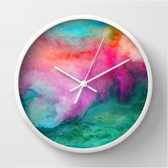 Watercolor wall clock, modern home decor, watercolor design clock, colorful abstract painting, artist designed green, pink, circular clock on Etsy, $40.00