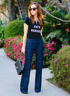 Sydne Style: I Hate Mondays - graphic tee, flare jeans, statement necklace