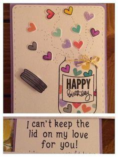 This card is adorable! diy birthday cards for boyfriend / handmade card / handmade greeting cards / how to make cards, diy cards, Birthday Diy, Handmade Birthday Cards, Happy Birthday Cards, Homemade Birthday, Birthday Gifts, Creative Birthday Cards, Romantic Birthday, Birthday Quotes, Birthday Greetings