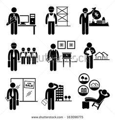Construction Real Estates Jobs Occupations Careers - Architect, Contractor, Investor, Manager, Interior Designer, Property Valuer, Salesman, Buyer, Investor - Stick Figure Pictogram