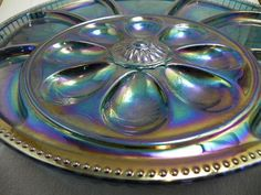 Carnival Glass Relish or Party Tray in Blue and Purple  found on Ruby Lane