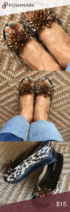 Animal Print Flatform Shoes! Bronze beaded fringe at the toes.  Shiny animal print leather.  Cutie cute!  Super comfortable.  Easy to walk in.  Go ahead and show off that pedicure! Helen's Heart Shoes Platforms