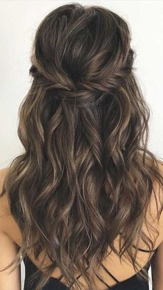 43 Gorgeous Half Up Half Down Hairstyles , partial updo hairstyle , braid half up half down hairstyles , bridal hair ,boho hairstyle Easy Hairstyles For Medium Hair, Wedding Hairstyles For Long Hair, Down Hairstyles, Bridal Hairstyles, Indian Hairstyles, Gorgeous Hairstyles, Hairstyles For Bridesmaids, Bridesmaid Hairstyles Half Up Half Down, Office Hairstyles