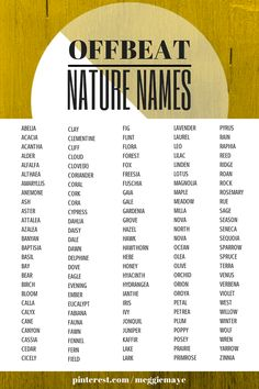 Off-Beat nature names- great for character naming